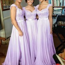 Lilac Long Bridesmaid Dresses 2019 Elegant A line Sleeveless