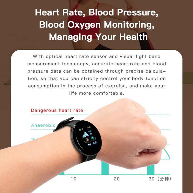 2019 Smart Watch Pria Tekanan Darah Bulat Wanita Tahan Air Sport Tracker WhatsApp D18 untuk Apple Android IOS Ponsel