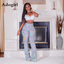 Adogirl High Waist Sequins Draped Hem Pants Fashion Active Wear Night Club Long Trousers 2019 Autumn Street Outfits