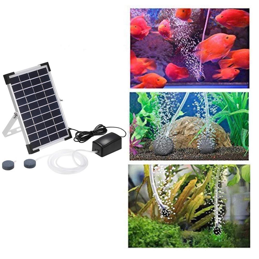 Kuulee 10V 5W solaire alimenté oxygénateur poissons Aquarium étang eau oxygène pompe à Air pompe BSV-AP006