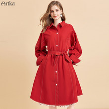 ARTKA 2019 Autumn New Women Dress Fashion Red Trench Coat Style Dresses Casual Long Sleeve Shirt Dresses With Belt LA10494Q(China)