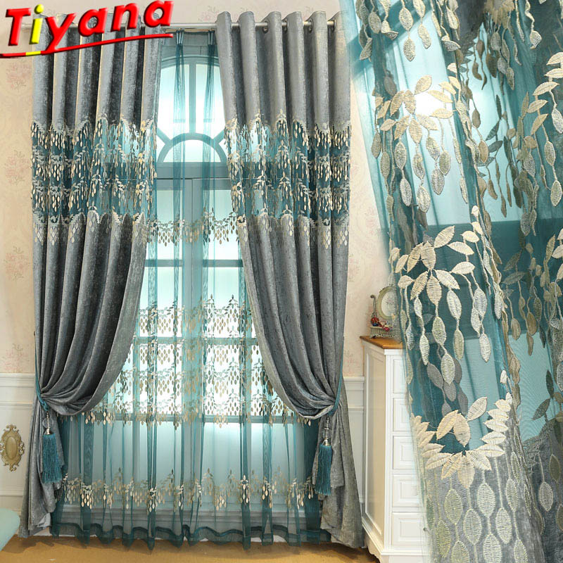 Embossed Leaves Embroidered Tulle Curtains Living Room with Luxurious Home Decor Bedroom Semi Blackout Curtains Voile WP365#40|Curtains| |  - title=