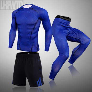 3-piece sets Compression Suits Men's Quick Dry set Clothes Sport Running MMA jogging Gym work out Fitness Tracksuit clothing 22