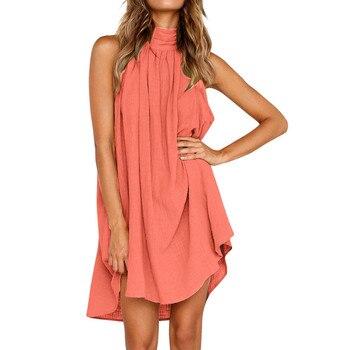 Turtleneck Dress Above Knee Solid Color Irregular Dress Ladies Summer Beach Style Sleeveless Party Sundress Loose Bohemian Robe 1