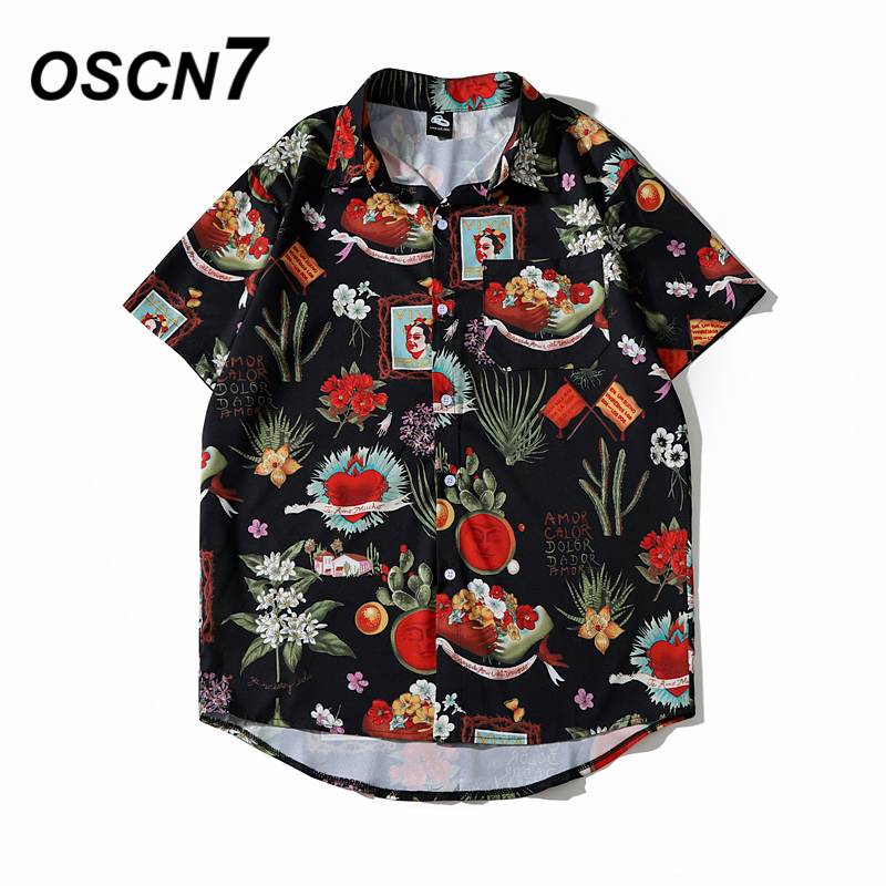 OSCN7 Casual Cloud Printed Short Sleeve Shirt Men Street 2020 Hawaii Beach Oversize Women Fashion Harujuku Shirts For Men 2055