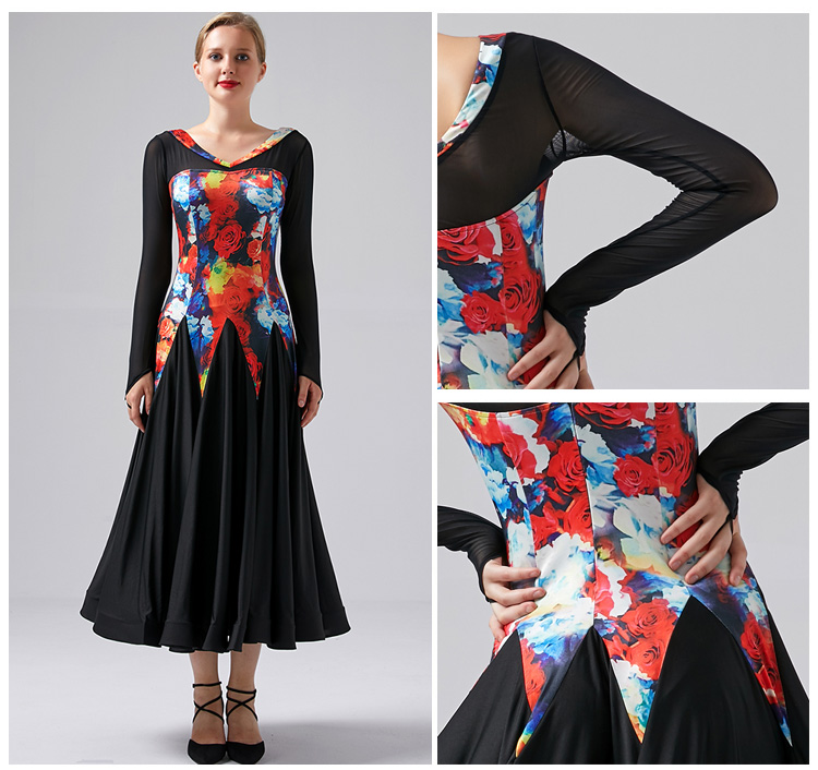 Ballroom Dance Dresses For Sale Long Ballroom Dress  Women Tango Dance Costume Print Dress Foxtort Women Dance Wear Splicing