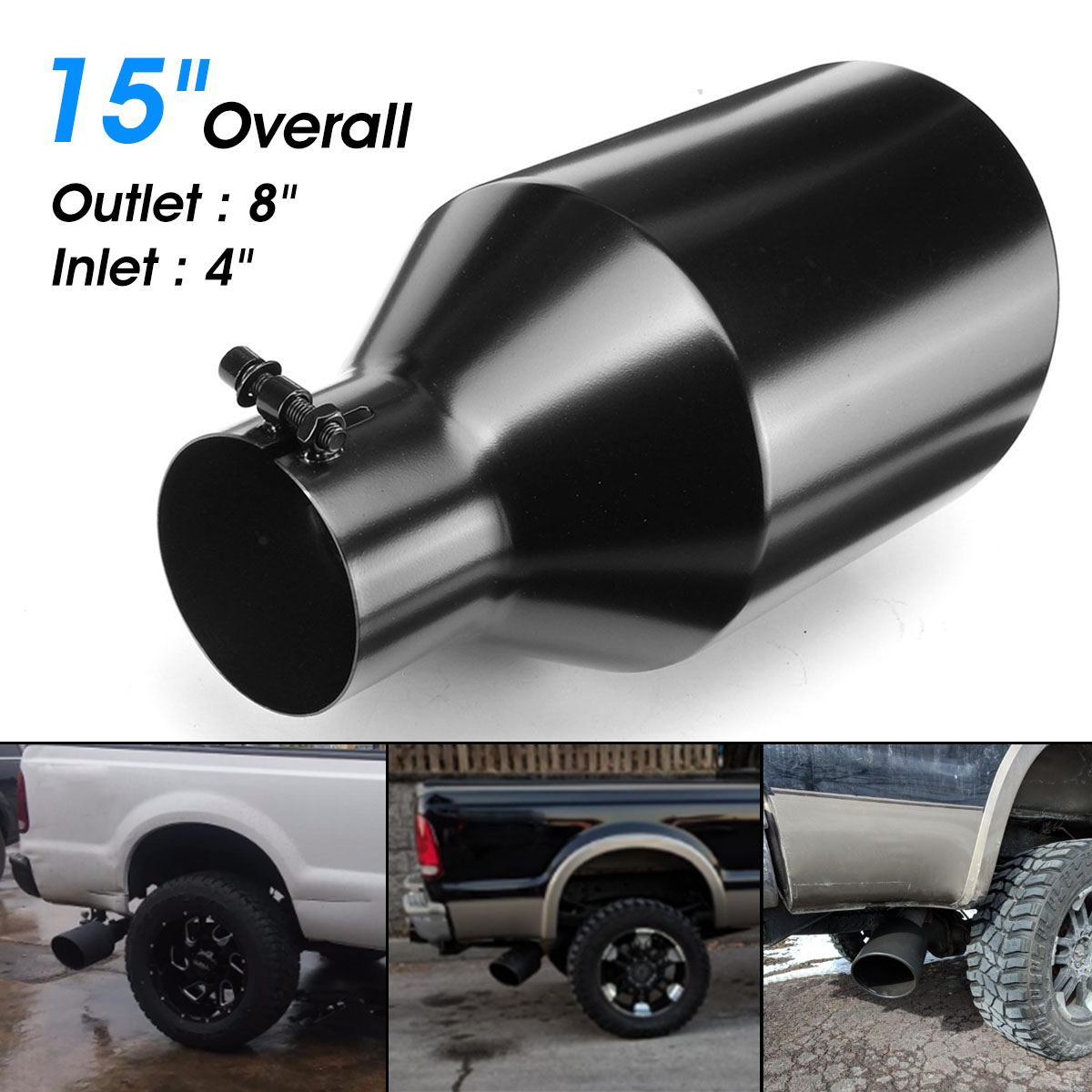 "Universal 4"" inlet 8"" Outlet Car Stainless Steel Exhaust Muffler Tip Pipe Car Rear Tail Throat Liner Accessories"