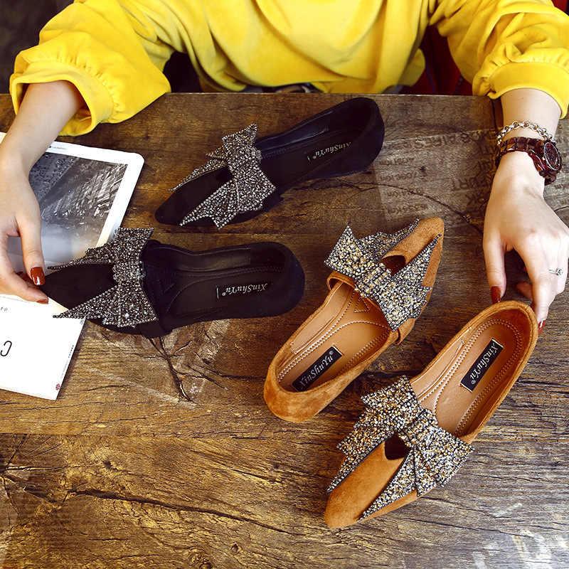 2020 wiosna i jesień szpiczasty nosek pojedyncze buty damskie kryształowe wszystkie mecze płaskie miękkie skórzane mokasyny-Gommino boczne Scoop Bootie