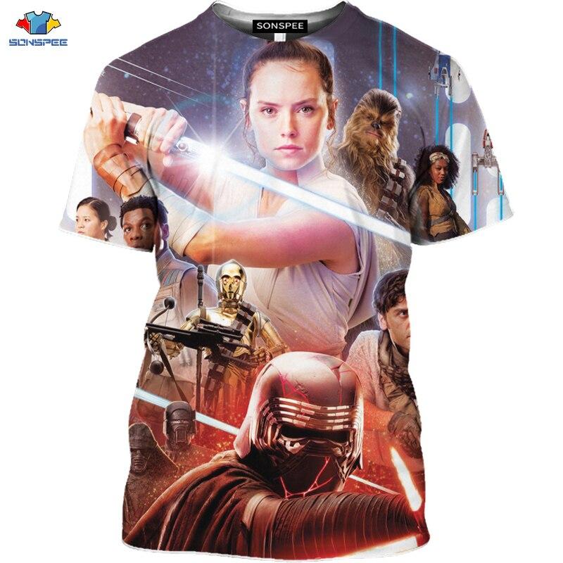 Sonspee 3d Science Fiction Movie Star Wars T Shirt Space War The Rise Of Skywalker T Shirt Robot Men Shirt Mask Spaceship Tops T Shirts Aliexpress