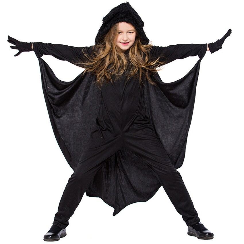 В виде животных для детей, Косплэй милый костюм летучей мыши на Хэллоуин для детей, вечерние костюмы для девочек черный комбинезон подключения крылья летучей мыши Бэтмен одежда COS