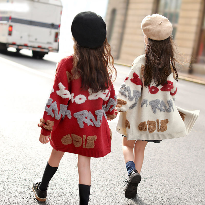 Children's Sweater for Girls Cardigan Autumn Winter Teen Girls Clothes Baby Cardigan Knitted Sweater Coat 10 12 13 Years Outfits