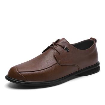Luksusowe buty dla mężczyzn popularne męskie sznurowane Casual wskazał modne skórzane buty modne buty do biura Homme Outdoor Sneakers tanie i dobre opinie EUDILOVE Prawdziwej skóry Skóra bydlęca 0021 Lace-up Pasuje prawda na wymiar weź swój normalny rozmiar Oksfordzie