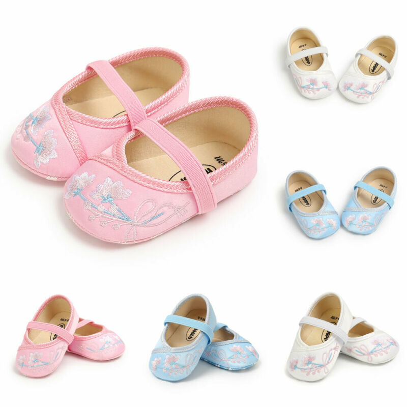 Toddler Baby Girls Embroidered Soft Sole Perwalker Princess Sweety Anti-Slip Shoes Embroidery Chinese Style