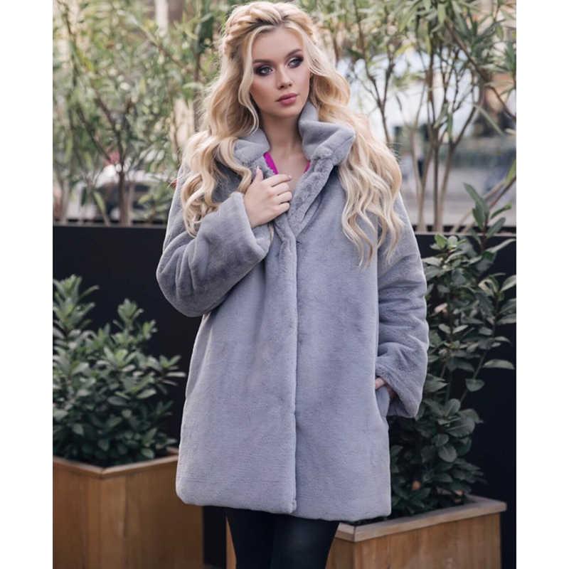 Liva/пальто с искусственным кроличьим мехом для девочек, зимняя длинная норка, меховое пальто для женщин, Свободное пальто, роскошное, плотное, теплое, негабаритное, женское, плюшевое пальто