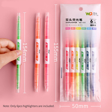 6pcs/set Candy Color Highlighter Pen Marker Brush Pens Fluorescent Pen Drawing Highlighters Double-headed Using Pens