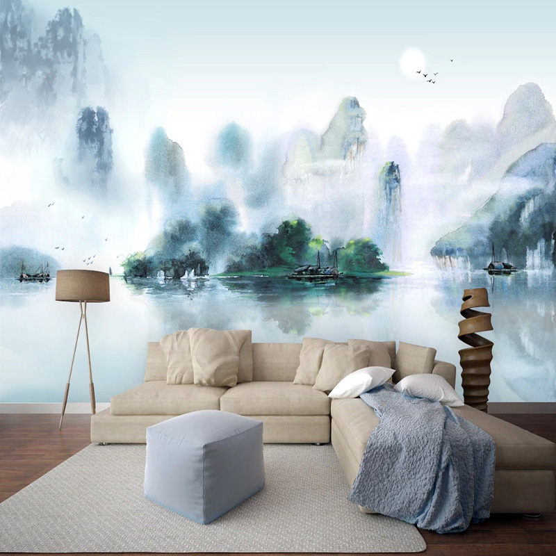 Chinese Style Ink Landscape Mural Wallpaper 3D Living Room Bedroom Background Wall Decor Papel De Parede Sala 3D Art Wall Papers