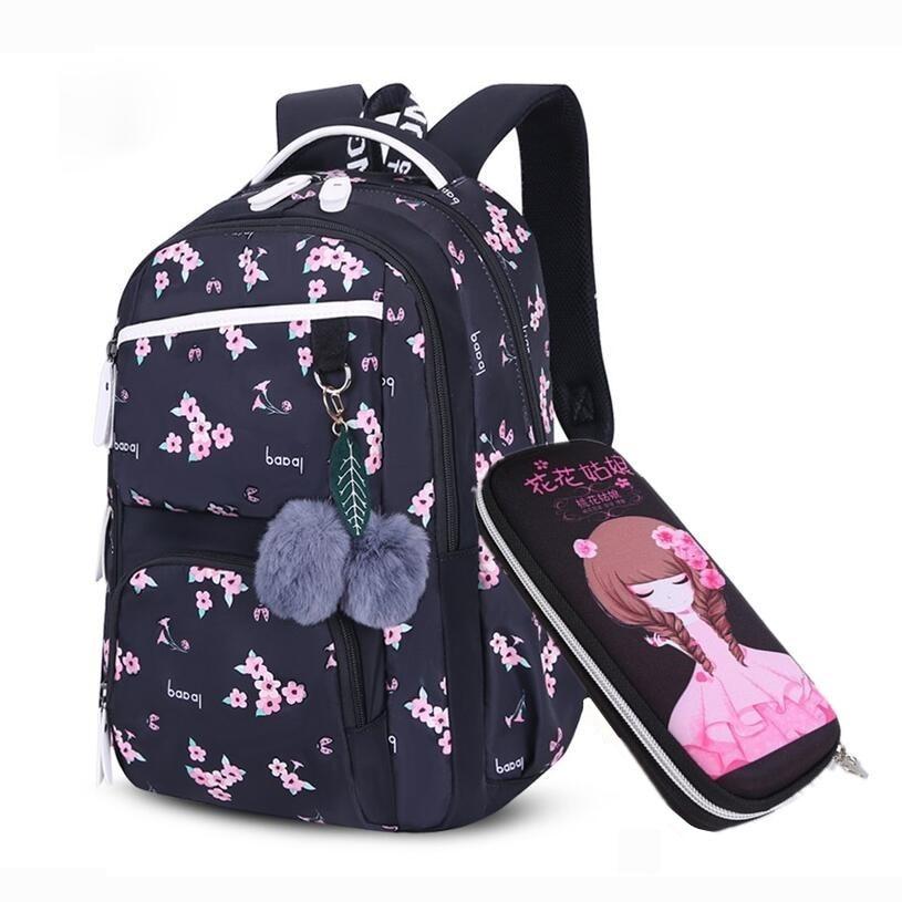 Image 2 - OKKID children school bags for girls russia elementary school backpack cute flower print pink backpack schoolbag girl book bag-in School Bags from Luggage & Bags