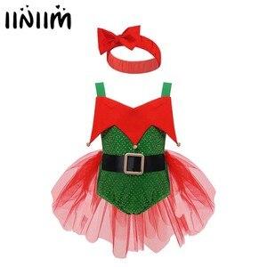 Iiniim dziewczynek bez rękawów renifer Elf Tutu przebranie kostium na boże narodzenie impreza z okazji Halloween odgrywanie ról z małe dzwonki
