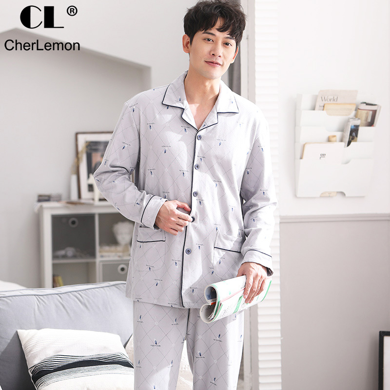 CherLemon Autumn Men's Combed Cotton Pajama Set Turn-down Collar Elastic Pants Long Sleepwear Male Feather Plaid Lounge Pyjamas