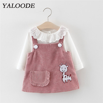 Baby Girl Dress Spring Autumn Cartoon Giraffe Baby Girl Clothing White Tops With Strap Dress 2Pcs Clothes Outfit Princess Dress girl dress baby clothing spring autumn new style floral girl princess dress in long sleeve retro