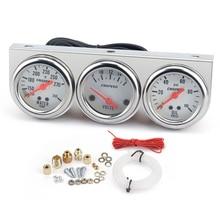 Universal 2'' 52mm Triple 3 gauge kit Volt meter Water Oil press Pressure Gauge