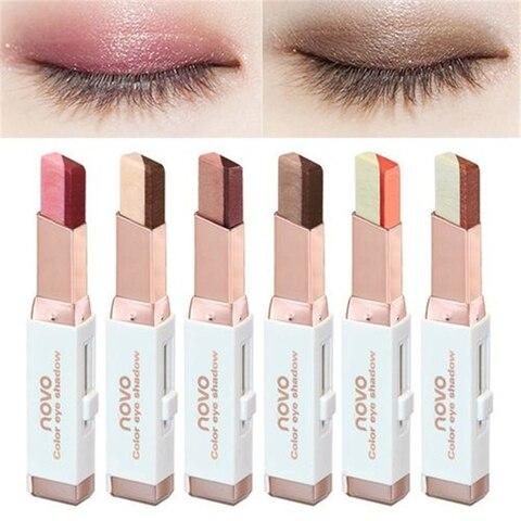 NOVO Eye Makeup Shimmer Earth Color Eye Shadow Cream Pen Double Color Stereo Gradient Velvet Eyeshadow Stick Sombra Pakistan