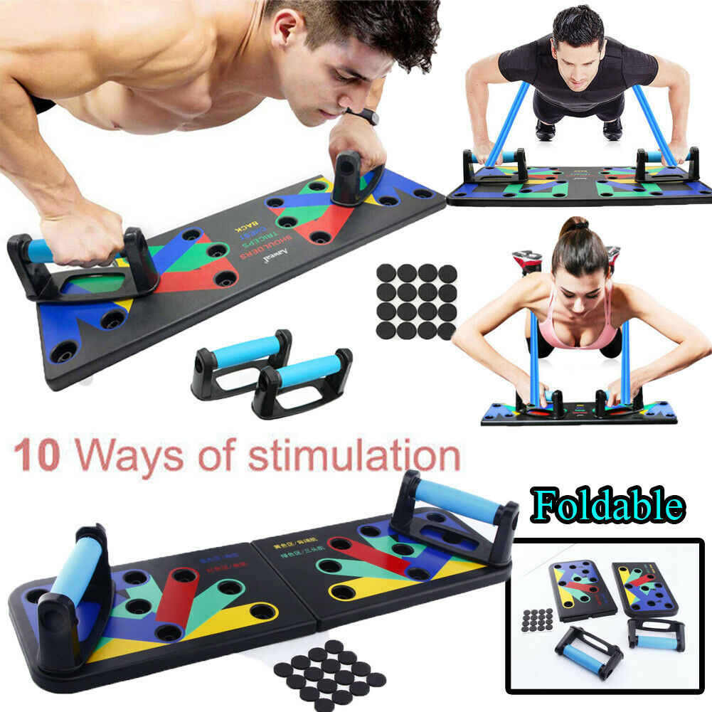 Opvouwbare 10 in 1 Unisex Bodybuilding Fitness Push Up Stand Rack Board Systeem NIEUWE Push-Ups Stands