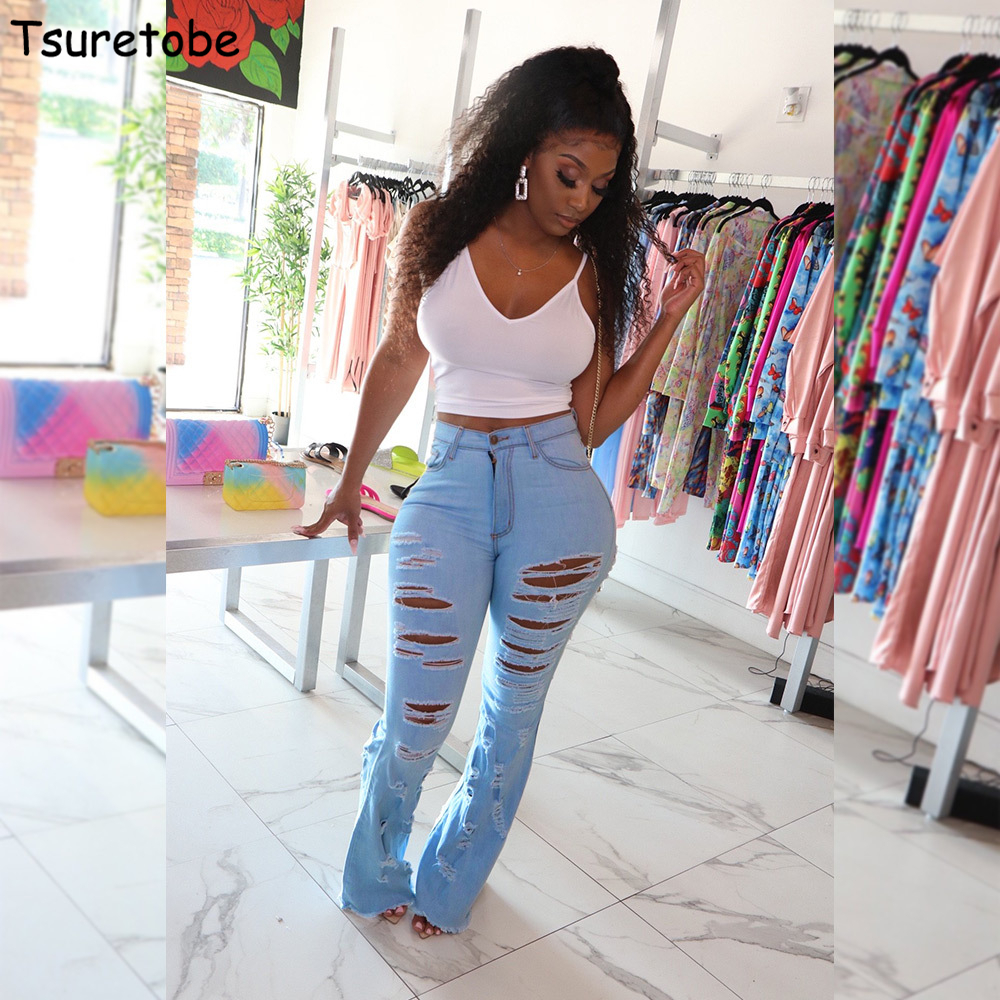 Tsuretobe Ripped Jeans For Women 2020 High Waisted Jeans Streetwear Bell Bottom Jeans Fashion Flare Jeans Tall Women Clothing