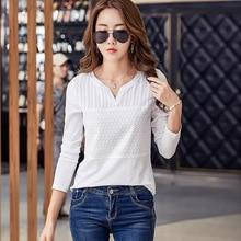 Women Summer Fashion T-Shirt Women's Clothing Female Shirt Casual Solid Long Sleeve V-neck White Black Tops T Shirts AE0045
