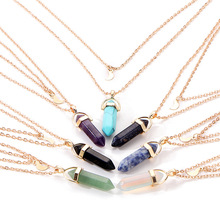 Hot selling hexagonal quartz layered necklace vintage stone natural bullet Birthday gift for girls