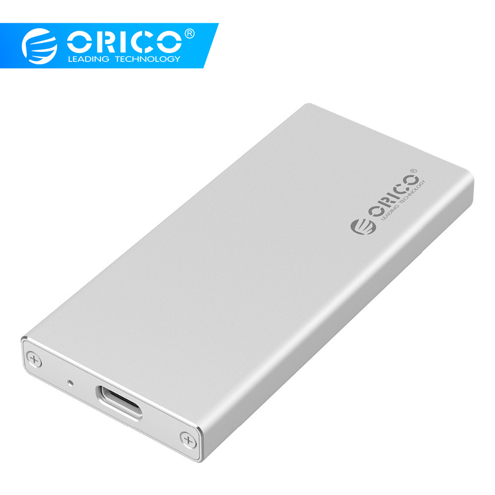 ORICO Aluminum USB3.1 Type-C MSATA SSD Enclosure USB3.0 MSATA SSD Case Screw Fixing With Data Cable For Windows/Linux/Mac