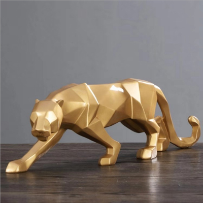 Leopard Statue Resin Geometric Animal Resin Sculpture Abstract Figurine Home Decoration/ decor statues Modern beelden decoratie 4