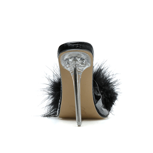 Image 4 - Kcenid New sexy PVC transparent open toe black furry slippers women clear perspex crystal high heels women shoes ladies sandals