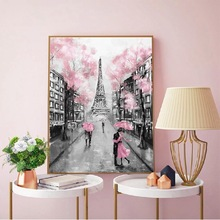 Romantic City Couple Paris Tower Oil Painting on Canvas Art Cuadro Posters and Prints Nordic Wall Picture for Living Room Decor 2pic set paris city landmarks and cars modern painting hd prints on canvas wall art for living room canvas printings home decor