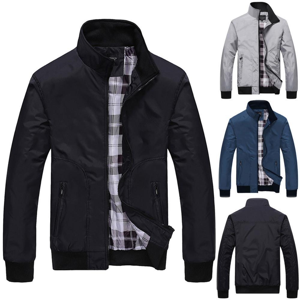 Men Winter Jacket Rain Jacket Casual Pure Color Rain Jacket Waterproof Windproof Zipper Outwear Coat Outcoat Softshell Jackets