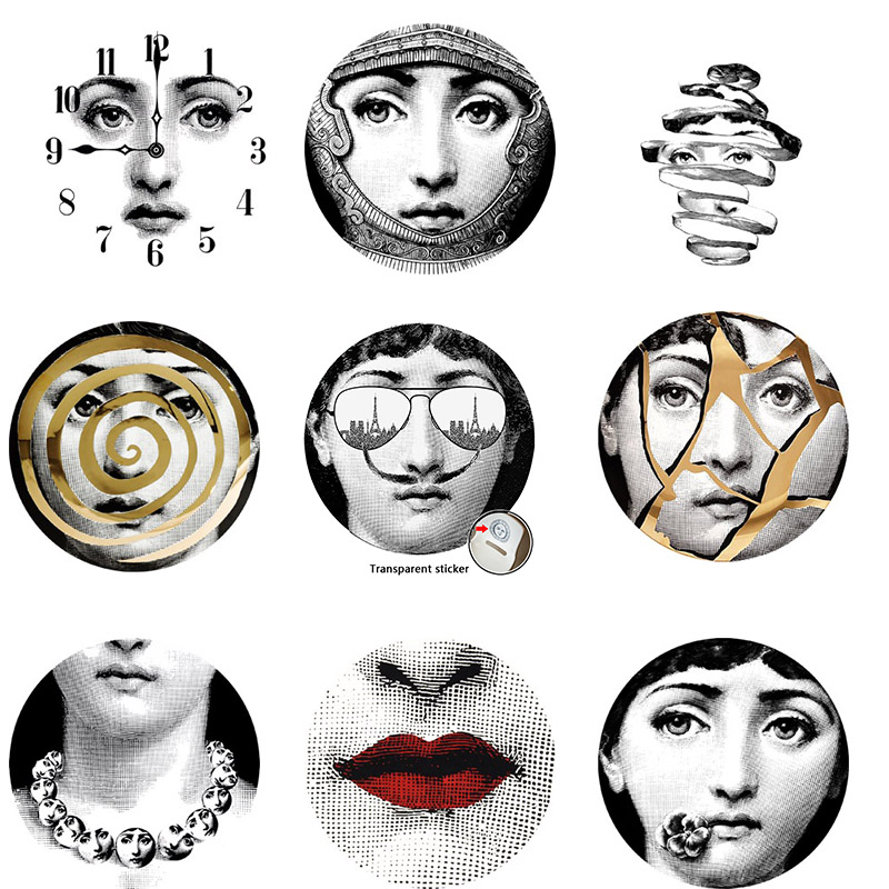 9 pieces Milan Italy Designer fornasetti plates pattern wallpaper separated painting wall stickers DIY wall decoration 10 inches in Wall Stickers from Home Garden