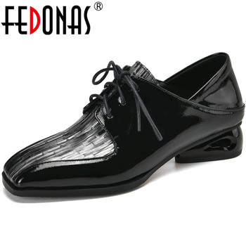 FEDONAS Lace Up Square Toe Women Shoes Genuine Leather Chunky Heels Pumps Butterfly Knot Classic Design Summer 2020 Shoes Woman