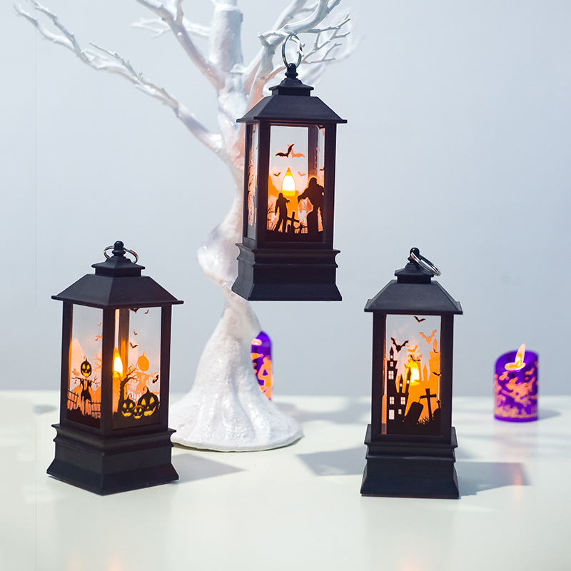Pumpkin Witch Ghost Hand Led Lantern Simulation Flame Light Small Oil Lamp Bar Festival Halloween Decoration