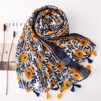 2020 Hijab Shawls and Wraps  Summer Cotton Tassel Scarf Flower Pattern Sunscreen Large Shawl Linen Scarf Beach Towel Echarpe 2020 hijab shawls and wraps summer cotton tassel scarf flower pattern sunscreen large shawl linen scarf beach towel echarpe