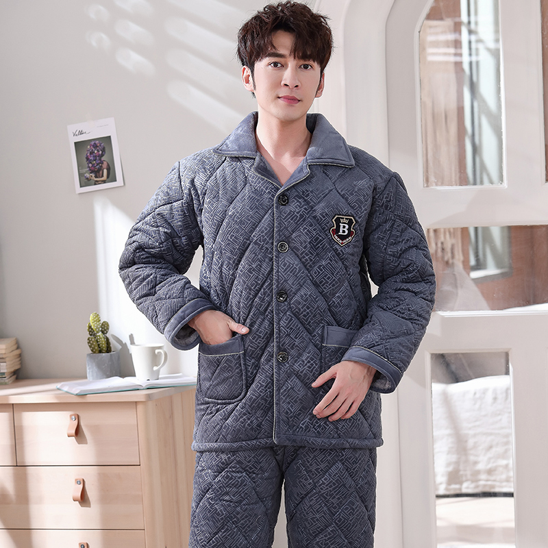 Men's Geometric Patterns Pajama Sets Three Layer Thickening Winter Pajamas Men Quilted Jacket Coral Fleece Quilted Pyjamas 3XL