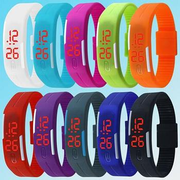 Relojes de mujer Unisex para hombre, banda de silicona de moda, LED rojo, reloj deportivo, pulsera Digital, reloj de muñeca para mujer, relogio デΩ Ω ④