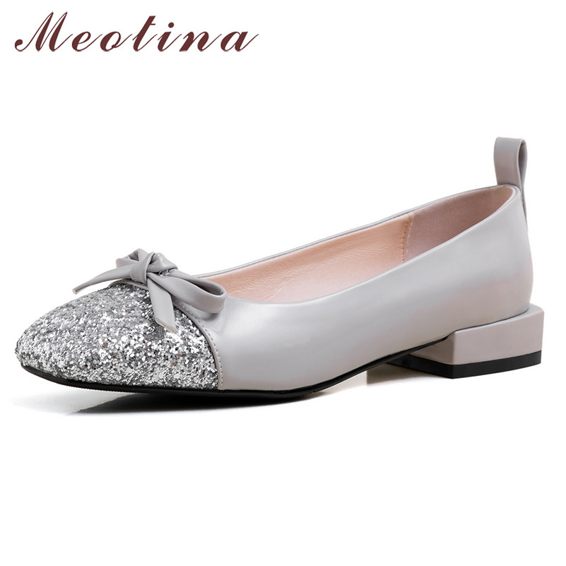 Meotina Spring Ballet Flats Women Shoes Mixed Colors Bow Flat Loafers Shoes Glitter Square Toe Boat Shoes Female Plus Size 33-43
