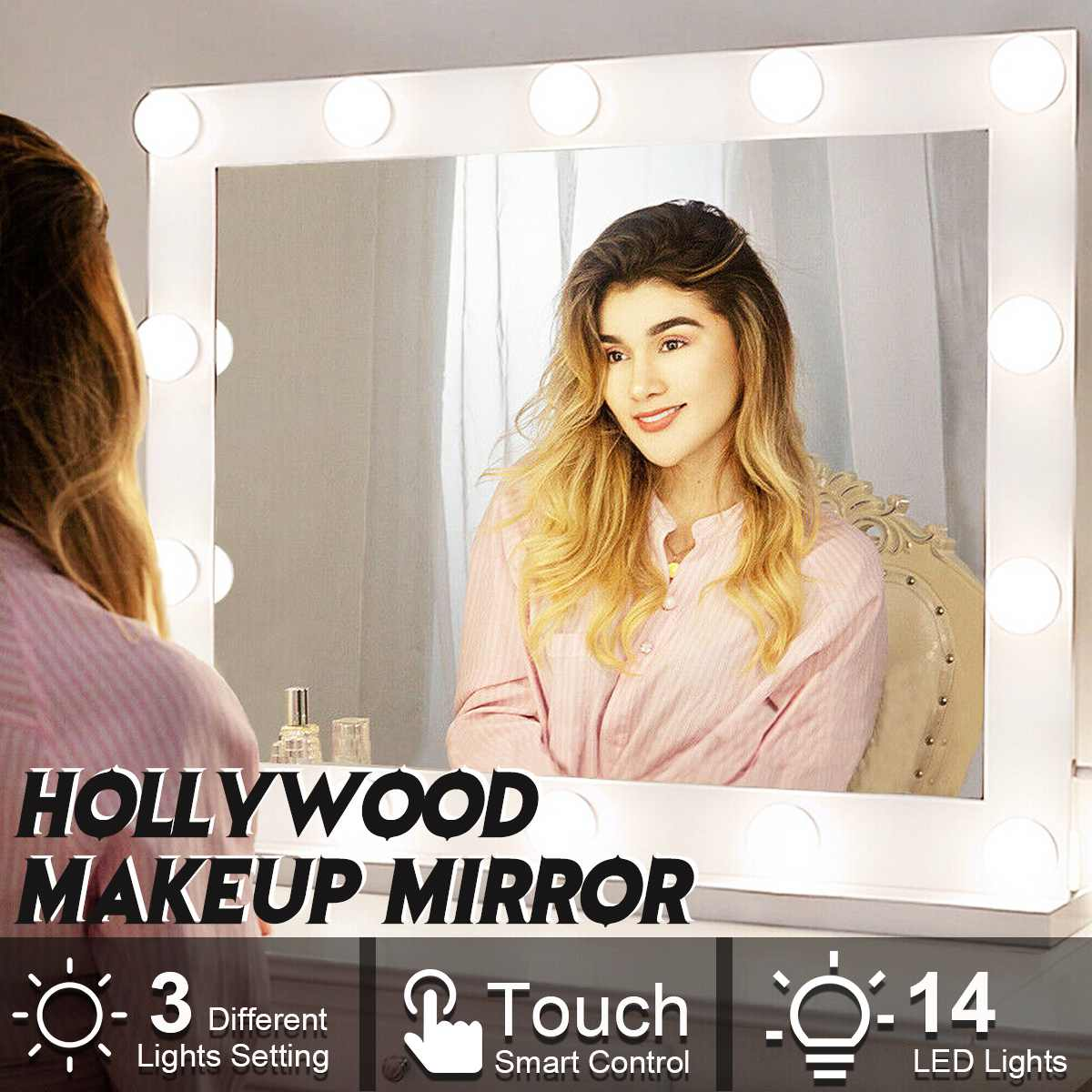 Hollywood Makeup Mirror Vanity Lighted Cosmetic Mirror with 14 LEDs Lights For Tabletop Bathroom Beauty Mirror Dressing Room 1