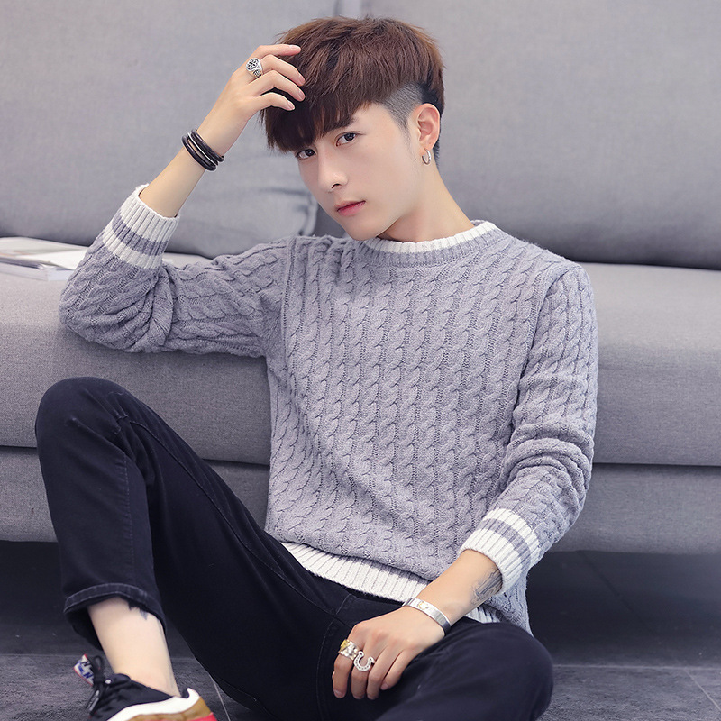 Leisure Mens Sweater Winter O Neck Beige Gray Black Long-sleeved Sleeve Round Collar Body Pullover Men Sweaters