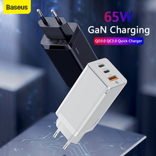 Baseus 65W GaN Charger PD QC Fast Charging USB Type-C 3.0 Quick Charge EU Plug 3 Port USB Portable Wall Charger For Tablet Phone ugreen 36w fast usb charger quick charge 4 0 3 0 type c pd fast charging for iphone 11 usb charger with qc 4 0 3 0 phone charger