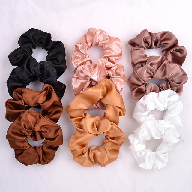 3.9 inch Women Silk Scrunchie Elastic Handmade Multicolor  Hair Band Ponytail Holder Headband Hair Accessories 2