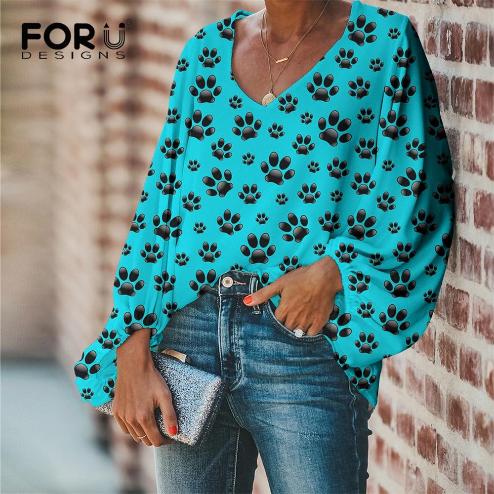 FORUDESIGNS Drop Ship 1PCS Paw Theme Pattern Design Female Clothes Daily Casual Women Loose Chiffon Blouse V-Neck Shirts Beach 7