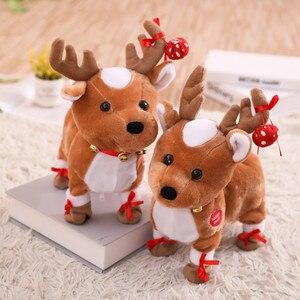Renos de Navidad de peluche para niños, juguete eléctrico para caminar, renos de peluche