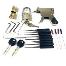 Nowe narzędzia ślusarskie, pistolet blokujący z przezroczystymi zamkami do ćwiczeń zepsuty klucz urządzenie do otwierania zamków, świetny zestaw do ćwiczeń wytrych do zamków