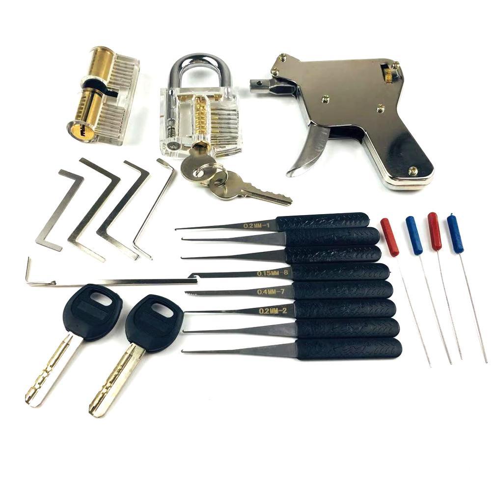 Nuevas herramientas de cerrajero, pistola de bloqueo con cerraduras de práctica transparentes herramienta extractora de llaves rotas, gran juego de práctica de ganzúa